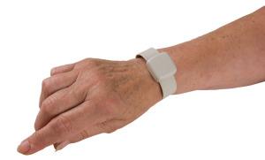 RoamAlert Securaband tag on wrist